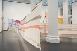 Eric N. Mack (American, born 1987). <em>Seat Pleasant</em>, 2019. Dye, cotton fabric, synthetic fabric, REI climbing rope, straight pins, electric fan, 84 × 696 3/16 × 840 3/16 in. (213.4 × 1768.3 × 2134.1 cm). Brooklyn Museum, Gift of the artist, 2019.32. © artist or artist's estate (Photo: , CUR.2019.32.jpg)
