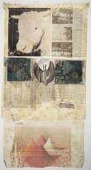 Robert Rauschenberg (American, 1925-2008). <em>Ringer</em>, 1974. Offset lithograph and screenprint, paper bag, cheesecloth, China silk, silk, satin, 70 × 36 in. (177.8 × 91.4 cm). Brooklyn Museum, Gift of Carol and Don Glaser, 2019.43. © artist or artist's estate (Photo: , CUR.2019.43_RobertRauschenbergFoundation_photograph.jpg)
