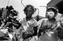 Mary Ellen Mark (American, 1940-2015). <em>Two Black Girls with Antennae, Santa Barbara</em>, 1985; printed ca. 1985. Gelatin silver photograph, Sheet: 10 7/8 × 14 in. (27.6 × 35.6 cm). Brooklyn Museum, Gift of Howard Greenberg, 2019.50.8. © artist or artist's estate (Photo: Image courtesy of the estate of Mary Ellen Mark, CUR.2019.50.8_MaryEllenMarkEstate_photograph.jpg)