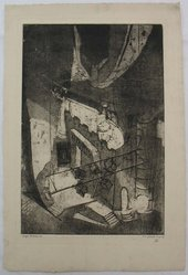 Eugene C. Fitsch (American, 1892-1972). <em>Light Rehearsal</em>, 1927. Aquatint, Image: 11 13/16 x 7 15/16 in. (30 x 20.1 cm). Brooklyn Museum, Gift of the artist, 28.426. © artist or artist's estate (Photo: Brooklyn Museum, CUR.28.426.jpg)