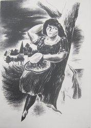 Yasuo Kuniyoshi (American, born Japan, 1889-1953). <em>Girl Leaning Against a Tree</em>, 1927. Lithograph on paper, Sheet: 15 13/16 x 11 9/16 in. (40.2 x 29.4 cm). Brooklyn Museum, 28.763. © artist or artist's estate (Photo: Brooklyn Museum, CUR.28.763.jpg)