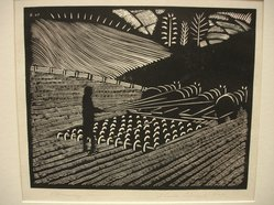 Wharton Esherick (American, 1887-1970). <em>Harrowing</em>, 1927. Block print, woodcut, 6 1/16 x 7 7/16 in. (15.4 x 18.9 cm). Brooklyn Museum, Frank Sherman Benson Fund, 29.1269. © artist or artist's estate (Photo: Brooklyn Museum, CUR.29.1269.jpg)