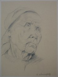 Israel Abramofsky (American, 1888-1975). <em>The Fisherwoman</em>, n.d. Graphite on paper mounted to backing paper, Sheet (drawing): 9 3/8 x 7 in. (23.8 x 17.8 cm). Brooklyn Museum, Gift of L. H. Mark, 31.190. © artist or artist's estate (Photo: Brooklyn Museum, CUR.31.190.jpg)