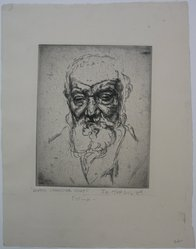 Joseph Margulies (American, 1896-1984). <em>Ghetto Character Study</em>, n.d. Etching on cream-colored wove paper, Sheet: 12 7/8 x 10 3/16 in. (32.7 x 25.9 cm). Brooklyn Museum, Gift of the Brooklyn Society of Ethical Culture, 31.215. © artist or artist's estate (Photo: Brooklyn Museum, CUR.31.215.jpg)