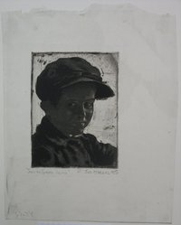 Joseph Margulies (American, 1896-1984). <em>Smiling Ghetto Urchin</em>, n.d. Etching on laid paper, Sheet (irregular): 11 3/4 x 9 in. (29.8 x 22.9 cm). Brooklyn Museum, Gift of the Brooklyn Society of Ethical Culture, 31.221. © artist or artist's estate (Photo: Brooklyn Museum, CUR.31.221.jpg)