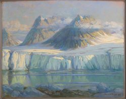 Hans W. Meyer (American). <em>Gully Glacier, Magdalena Bay, Spitzbergen</em>, 1928. Pastel on paperboard, Image: 27 3/8 x 33 7/16 in. (69.5 x 85 cm). Brooklyn Museum, Gift of a group of students of Packer Collegiate Institute, 32.102. © artist or artist's estate (Photo: Brooklyn Museum, CUR.32.102.jpg)