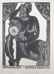 Marguerite Thompson Zorach (American, 1887-1968). <em>New Year's Card of Edith G. Halpert and Berthe K. Goldsmith</em>. Linocut, Sheet: 9 5/8 x 7 1/8 in. (24.4 x 18.1 cm). Brooklyn Museum, Gift of Dr. William H. Fox, 34.512. © artist or artist's estate (Photo: Brooklyn Museum, CUR.34.512.jpg)