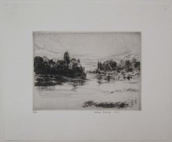 Wilson Silsby (American, 1883-1952). <em>Sunrise</em>. Drypoint on white wove paper, Image: 4 x 5 7/16 in. (10.1 x 13.8 cm). Brooklyn Museum, Gift of Genevieve Chilver, 35.1660. © artist or artist's estate (Photo: Brooklyn Museum, CUR.35.1660.jpg)