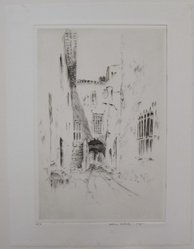 Wilson Silsby (American, 1883-1952). <em>La Rue des Porteurs, Venice</em>. Drypoint on white wove paper, Image: 8 7/8 x 5 15/16 in. (22.6 x 15.1 cm). Brooklyn Museum, Gift of Genevieve Chilver, 35.1661. © artist or artist's estate (Photo: Brooklyn Museum, CUR.35.1661.jpg)