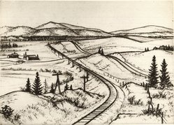 Andrew R. Butler (American, 1896-ca.1979). <em>Mount Holly, Vermont</em>, 1933. Etching and drypoint on white laid paper, 7 7/16 x 10 7/16 in. (18.9 x 26.5 cm). Brooklyn Museum, Museum Collection Fund, 35.831. © artist or artist's estate (Photo: Brooklyn Museum, CUR.35.831.jpg)