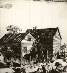 Orville Houghton Peets (American, 1884-1964). <em>Mending His Roof</em>, 20th century. Line engraving on white laid paper, Plate: 8 1/8 x 7 5/16 in. (20.6 x 18.6 cm). Brooklyn Museum, Museum Collection Fund, 35.835. © artist or artist's estate (Photo: Brooklyn Museum, CUR.35.835.jpg)