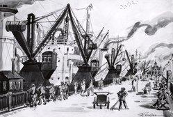Frederic Knecht Detwiller (American, 1882-1953). <em>Promenoir D'Anvers</em>, 1931. Watercolor; pen, ink and pencil on paper, 13 3/4 x 20 1/8 in. (34.9 x 51.1 cm). Brooklyn Museum, John B. Woodward Memorial Fund, 35.949. © artist or artist's estate (Photo: Brooklyn Museum, CUR.35.949.jpg)