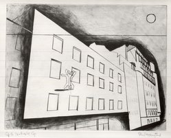 Stanley William Hayter (British, 1901-1988). <em>Paysages Urbains, Suite de Six Pointes-Sèches</em>, 1930. Drypoint and line engraving on wove paper, 8 1/8 x 10 1/2 in. (20.6 x 26.7 cm). Brooklyn Museum, Gift of the artist, 36.147. © artist or artist's estate (Photo: Brooklyn Museum, CUR.36.147.jpg)