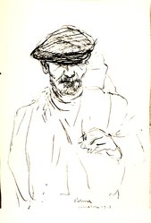 Einar Palme (Swedish). <em>Fisherman Barcelona</em>, 1933. Pen and ink on green-blue paper, 10 15/16 x 9 5/8 in. (27.8 x 24.5 cm). Brooklyn Museum, Frank L. Babbott Fund, 36.49. © artist or artist's estate (Photo: Brooklyn Museum, CUR.36.49.jpg)