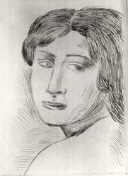 André Derain (French, 1880-1954). <em>Tete de femme de côté</em>. Etching on wove paper, 7 1/16 x 5 1/8 in. (17.9 x 13 cm). Brooklyn Museum, A. Augustus Healy Fund, 36.62. © artist or artist's estate (Photo: Brooklyn Museum, CUR.36.62.jpg)
