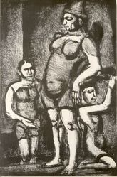 Georges Rouault (French, 1871-1958). <em>Cirque Forain, Clownes et Acrobates</em>. Lithograph on wove Arches paper, 13 3/16 x 8 7/8 in. (33.5 x 22.5 cm). Brooklyn Museum, By exchange, 37.116. © artist or artist's estate (Photo: Brooklyn Museum, CUR.37.116.jpg)