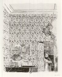 Édouard Vuillard (French, 1868-1940). <em>Interior with Pink Wallpaper II (Intérieur aux tentures roses II)</em>, 1899. Color lithograph on wove paper, image: 14 × 11 in. (35.6 × 27.9 cm). Brooklyn Museum, By exchange, 37.149.7. © artist or artist's estate (Photo: Brooklyn Museum, CUR.37.149.7.jpg)
