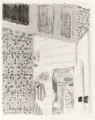 Édouard Vuillard (French, 1868-1940). <em>Interior with Pink Wallpaper III (Intérieur aux tentures roses III)</em>, 1899. Color lithograph on China paper, Image: 13 1/2 x 10 1/16 in. (34.3 x 25.6 cm). Brooklyn Museum, By exchange, 37.149.8. © artist or artist's estate (Photo: Brooklyn Museum, CUR.37.149.8.jpg)