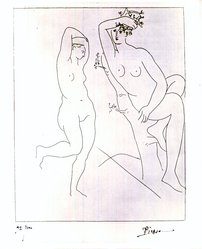 Pablo Picasso (Spanish, 1881-1973). <em>Deux Femmes Nues Dans un Arbre</em>, 1931. Etching on wove paper, Sheet: 26 5/16 x 20 in. (66.8 x 50.8 cm). Brooklyn Museum, By exchange, 37.154. © artist or artist's estate (Photo: Brooklyn Museum, CUR.37.154.jpg)