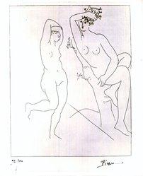 Pablo Picasso (Spanish, 1881-1973). <em>Deux Femmes Nues Dans un Arbre</em>, 1931. Etching on wove paper, Sheet: 26 5/16 x 20 in. (66.8 x 50.8 cm). Brooklyn Museum, By exchange, 37.154. © artist or artist's estate (Photo: Brooklyn Museum, CUR.37.154.jpg)