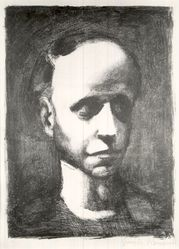 Georges Rouault (French, 1871-1958). <em>Self Portrait without Cap</em>. Lithograph on China paper, 13 3/4 x 10 in. (35 x 25.4 cm). Brooklyn Museum, By exchange, 37.18. © artist or artist's estate (Photo: Brooklyn Museum, CUR.37.18.jpg)