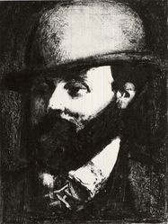 Georges Rouault (French, 1871-1958). <em>Head of a Man with a Hat, Facing Left</em>. Lithograph on wove paper, 9 1/8 x 6 13/16 in. (23.2 x 17.3 cm). Brooklyn Museum, Gift of J. B. Neumann, 37.31. © artist or artist's estate (Photo: Brooklyn Museum, CUR.37.31.jpg)