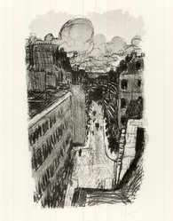Pierre Bonnard (French, 1867-1947). <em>Street Seen from Above (Rue vue d'en haut)</em>, ca. 1897. Color lithograph on wove paper, Image: 14 3/8 x 8 7/8 in. (36.5 x 22.5 cm). Brooklyn Museum, By exchange, 37.454. © artist or artist's estate (Photo: Brooklyn Museum, CUR.37.454.jpg)