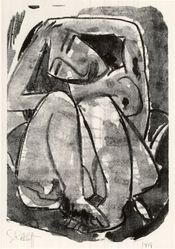 Karl Schmidt-Rottluff (German, 1884-1976). <em>Woman (Weib)</em>, 1914. Lithograph on wove paper, Image: 11 1/2 x 7 7/8 in. (29.2 x 20 cm). Brooklyn Museum, By exchange, 38.128. © artist or artist's estate (Photo: Brooklyn Museum, CUR.38.128.jpg)
