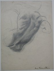 "Benjamin ""Benno"" Greenstein (American, 1901-1980). <em>A Torso in a Half Reclining Position</em>, n.d. Graphite on paper, Sheet: 10 3/8 x 7 3/4 in. (26.4 x 19.7 cm). Brooklyn Museum, Anonymous gift, 38.186. © artist or artist's estate (Photo: Brooklyn Museum, CUR.38.186.jpg)"