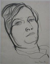"Benjamin ""Benno"" Greenstein (American, 1901-1980). <em>Head of a Woman</em>, n.d. Charcoal on paper, Sheet: 11 3/16 x 8 11/16 in. (28.4 x 22.1 cm). Brooklyn Museum, Anonymous gift, 38.187. © artist or artist's estate (Photo: Brooklyn Museum, CUR.38.187.jpg)"