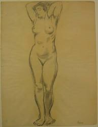 """Benjamin """"Benno"""" Greenstein (American, 1901-1980). <em>(A Nude Woman with Arms Upraised)</em>, n.d. Graphite and possibly charcoal on thin paper, Sheet: 13 3/4 x 10 1/2 in. (34.9 x 26.7 cm). Brooklyn Museum, Anonymous gift, 38.190. © artist or artist's estate (Photo: Brooklyn Museum, CUR.38.190.jpg)"""