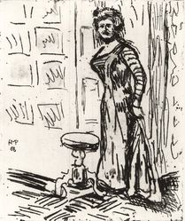Max Pechstein (German, 1881-1955). <em>Woman at the Door (Fran au der Türe)</em>, 1908. Etching and drypoint on coarse laid paper, Image (Plate): 11 13/16 x 9 13/16 in. (30 x 24.9 cm). Brooklyn Museum, By exchange, 38.194. © artist or artist's estate (Photo: Brooklyn Museum, CUR.38.194.jpg)