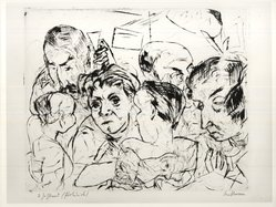 Max Beckmann (German, 1884-1950). <em>Society (Gesellschaft)</em>, 1915. Drypoint on wove paper, Image (Plate): 10 x 12 1/2 in. (25.4 x 31.8 cm). Brooklyn Museum, By exchange, 38.213. © artist or artist's estate (Photo: Brooklyn Museum, CUR.38.213.jpg)