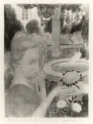 Maurice Denis (French, 1870-1943). <em>Morning Bouquet, Tears (Le Bouquet matinal, les larmes)</em>, 1892-1899. Color lithograph on wove paper, Image: 15 7/8 x 11 1/8 in. (40.3 x 28.3 cm). Brooklyn Museum, By exchange, 38.440. © artist or artist's estate (Photo: Brooklyn Museum, CUR.38.440.jpg)