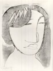 Karl Schmidt-Rottluff (German, 1884-1976). <em>Female Head (Weiblicher Kopf)</em>, 1914. Lithograph on laid paper, Image: 10 13/16 x 7 1/2 in. (27.5 x 19.1 cm). Brooklyn Museum, By exchange, 38.564. © artist or artist's estate (Photo: Brooklyn Museum, CUR.38.564.jpg)