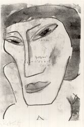 Karl Schmidt-Rottluff (German, 1884-1976). <em>Female Head (Weiblicher Kopf)</em>, 1914. Lithograph on laid paper, Image: 10 13/16 x 7 1/2 in. (27.5 x 19.1 cm). Brooklyn Museum, By exchange, 38.565. © artist or artist's estate (Photo: Brooklyn Museum, CUR.38.565.jpg)