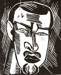 Karl Schmidt-Rottluff (German, 1884-1976). <em>Self-Portrait (Selbstbilnis)</em>, 1916. Woodcut on glossy wove paper, Image: 11 5/8 x 9 7/16 in. (29.5 x 24 cm). Brooklyn Museum, By exchange, 38.566. © artist or artist's estate (Photo: Brooklyn Museum, CUR.38.566.jpg)