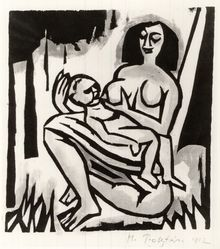 Max Pechstein (German, 1881-1955). <em>Mother and Child (Mütter und Kind)</em>, 1912. Hand-colored woodcut in green, rose, and black on Japan paper, Image: 7 3/4 x 7 1/4 in. (19.7 x 18.4 cm). Brooklyn Museum, By exchange, 38.795. © artist or artist's estate (Photo: Brooklyn Museum, CUR.38.795.jpg)