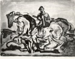Georges Rouault (French, 1871-1958). <em>Le Conducteur de Chevaux</em>, 1910. Lithograph on wove paper, 13 1/8 x 17 1/2 in. (33.4 x 44.5 cm). Brooklyn Museum, Gift of Frank Hubachek, 39.554. © artist or artist's estate (Photo: Brooklyn Museum, CUR.39.554.jpg)