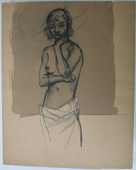 Augustus Peck (American, 1906-1975). <em>Torso of a Nude</em>, n.d. Ink and wash and graphite on paper, Sheet: 11 3/16 x 9 in. (28.4 x 22.9 cm). Brooklyn Museum, Dick S. Ramsay Fund, 39.569. © artist or artist's estate (Photo: Brooklyn Museum, CUR.39.569.jpg)