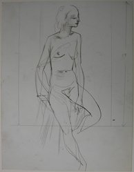 Augustus Peck (American, 1906-1975). <em>Seated Nude, Full Length Figure</em>, 20th century. Ink and graphite on paper, Sheet: 11 x 8 1/2 in. (27.9 x 21.6 cm). Brooklyn Museum, Dick S. Ramsay Fund, 39.570. © artist or artist's estate (Photo: Brooklyn Museum, CUR.39.570.jpg)