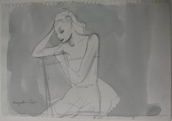 Augustus Peck (American, 1906-1975). <em>Seated Figure</em>, 20th century. Ink and wash and graphite on paper, Sheet: 6 1/8 x 8 15/16 in. (15.6 x 22.7 cm). Brooklyn Museum, Dick S. Ramsay Fund, 39.571. © artist or artist's estate (Photo: Brooklyn Museum, CUR.39.571.jpg)