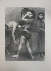 Raphael Soyer (American, born Russia, 1899-1987). <em>Backstage</em>, 1935. Lithograph on wove paper, sheet: 20 15/16 x 15 1/2 in. (53.2 x 39.4 cm). Brooklyn Museum, Gift of New York World's Fair, Department of Contemporary Art, 39.625. © artist or artist's estate (Photo: Brooklyn Museum, CUR.39.625.jpg)