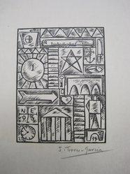 Joaquin Torres Garcia (Uruguayan, 1874-1949). <em>Composition No. 21</em>, 1934. Woodcut on paper, sheet: 11 x 9 13/16 in. (27.9 x 24.9 cm). Brooklyn Museum, Brooklyn Museum Collection, 39.662.21. © artist or artist's estate (Photo: Brooklyn Museum, CUR.39.662.21_view1.jpg)