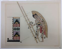 Awa Tsireh (Alfonso Roybal) (Po-who-ge-oweenge (San Ildefonso Pueblo), 1895-1955). <em>Dog Dancer</em>, 1930s. Black ink and watercolor over graphite on wove paper, 11 1/8 x 14 1/8 in.  (28.3 x 35.8 cm). Brooklyn Museum, Dick S. Ramsay Fund, 40.89. © artist or artist's estate (Photo: , CUR.40.89.jpg)