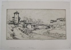 Ernest David Roth (American, 1879-1964). <em>Campi Bizenzio, Florence</em>, 1924. Etching on laid paper, image: 6 3/4 x 13 in. (17.1 x 33 cm). Brooklyn Museum, Gift of William M. Lybrand, 40.944. © artist or artist's estate (Photo: Brooklyn Museum, CUR.40.944.jpg)