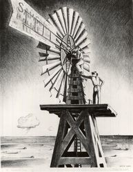 Peter Hurd (American, 1904-1984). <em>The Windmill Crew</em>. Lithograph on wove paper, 15 11/16 x 12 1/8 in. (39.8 x 30.8 cm). Brooklyn Museum, Dick S. Ramsay Fund, 41.1165. © artist or artist's estate (Photo: Brooklyn Museum, CUR.41.1165.jpg)