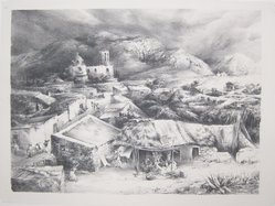 Ira Moskowitz (American, 1912-1985). <em>The Village of Zimapan, Mexico</em>, 1940. Lithograph on paper, Sheet: 12 5/8 x 17 in. (32.1 x 43.2 cm). Brooklyn Museum, Gift of the artist, 41.1171. © artist or artist's estate (Photo: Brooklyn Museum, CUR.41.1171.jpg)