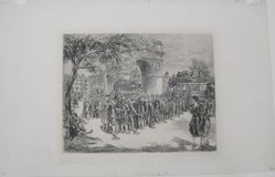 John Sloan (American, 1871-1951). <em>Busses in Washington Square</em>, 1925. Etching on wove paper, 7 13/16 × 9 7/8 in. (19.8 × 25.1 cm). Brooklyn Museum, Dick S. Ramsay Fund, 41.439. © artist or artist's estate (Photo: Brooklyn Museum, CUR.41.439.jpg)