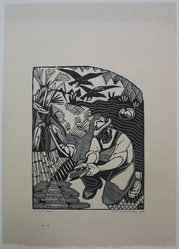 Helen West Heller (American, 1872-1955). <em>Corn Husker From American Earth Tryptich</em>, 1935. Woodcut, Sheet: 14 7/8 x 10 11/16 in. (37.8 x 27.1 cm). Brooklyn Museum, Dick S. Ramsay Fund, 41.60. © artist or artist's estate (Photo: Brooklyn Museum, CUR.41.60.jpg)
